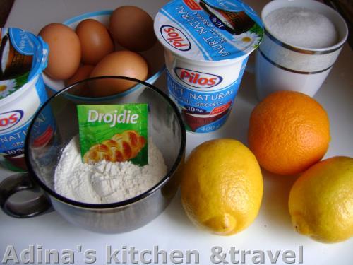 ingrediente necesare pentru prajitura cu iaurt si sirop de citrice