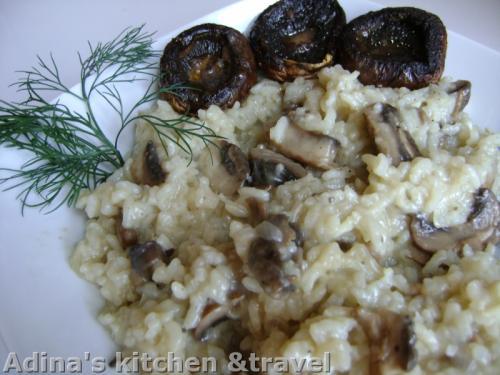 orez cu ciuperci brune