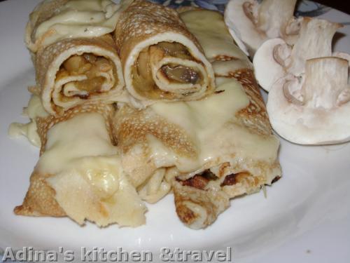 clatite cu ciuperci si mozzarella
