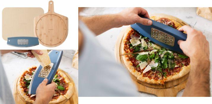 set de preparat pizza cu blat de coacere, servire și cuțit de pizza cu răzătoare