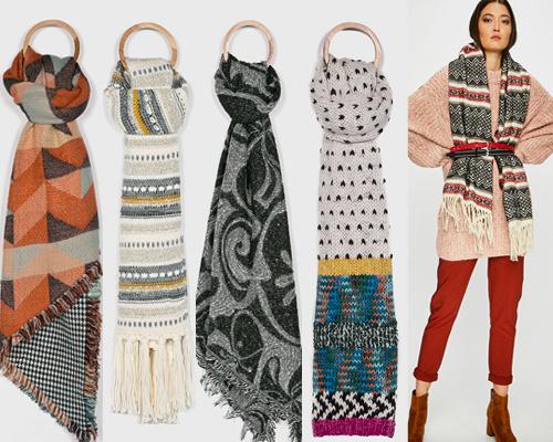 fulare tricotate cu motive etnice sud-americane