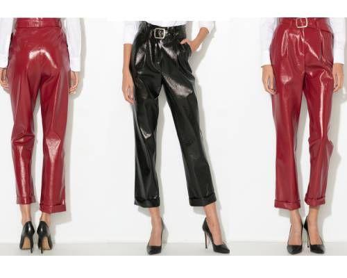 pantaloni din piele lăcuită stil vinilin trei sferturi cu curea