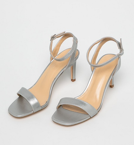 sandale argintii cu toc subtire