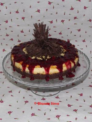 cheesecake cu ciocolata si piure de frcute de padure
