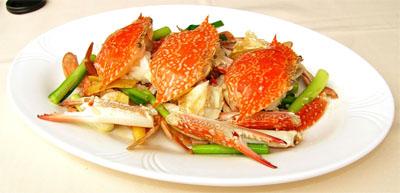 crab cu ghimbir si ceapa verde