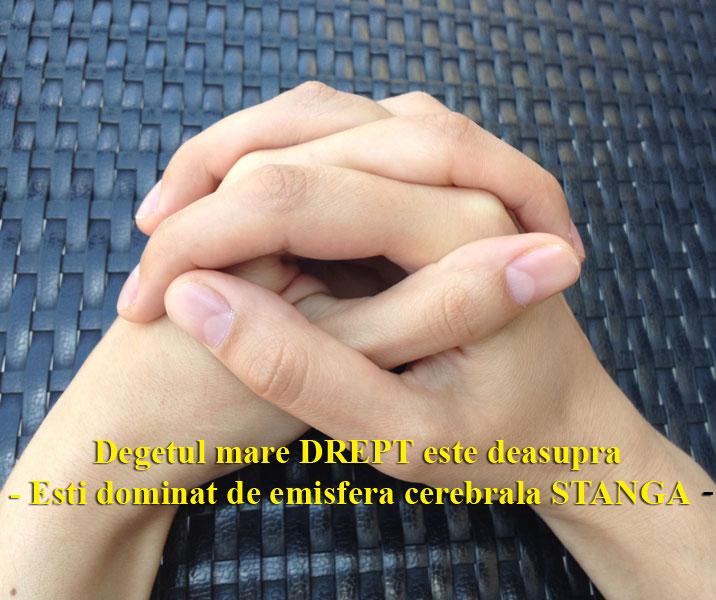EMISFERA STANGA ESTE DOMINANTA DACA AI DEGETUL DREPT DEASUPRA - TEST DE PERSONALITATE IN FUNCTIE DE DOMINANTA CEREBRALA