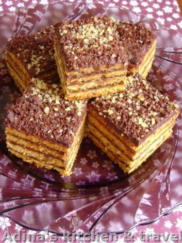 prajitura cu miere si crema de ciocolata