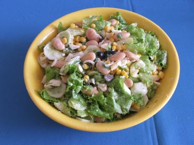 salata cu fasole boabe, porumb si pui