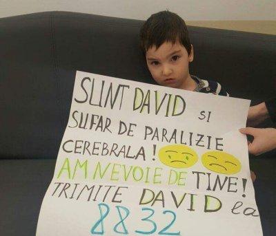David sufera de paralizie cerebrala, dar face progrese. Are mare nevoie de noi!