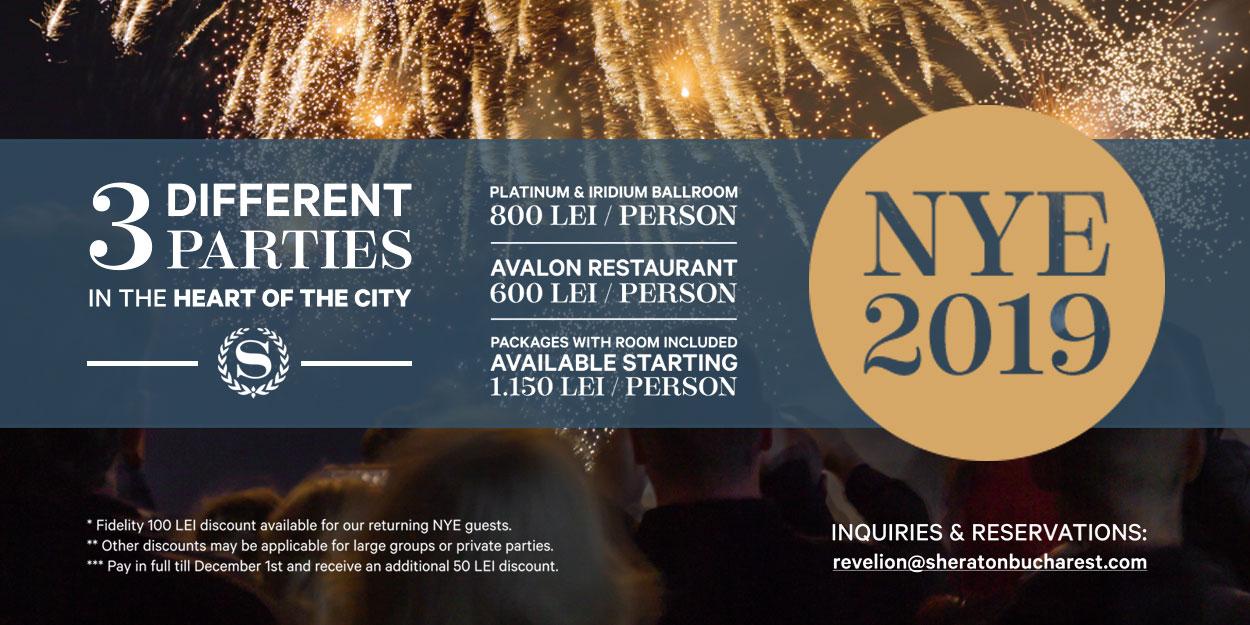 (P)Revelion 2019 la Sheraton Bucharest Hotel, cu 3 petreceri diferite