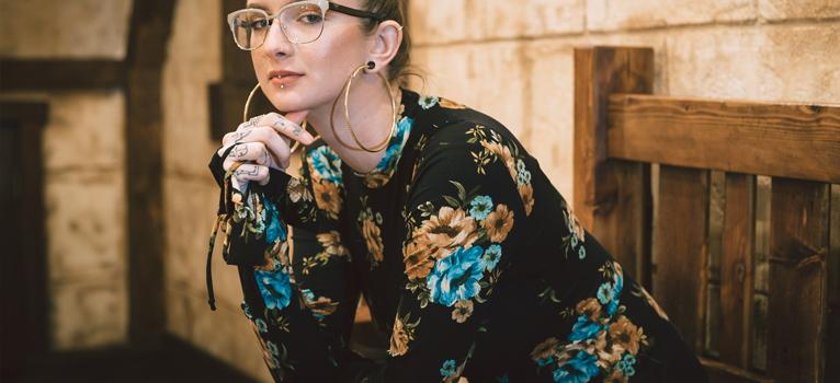 Rochia-tunică cu imprimeu floral colorat