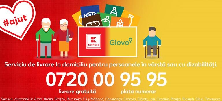 Kaufland și Glovoasigură livrare cu plata la domiciliu pentru persoanele în vârstă sau cu dizabilități