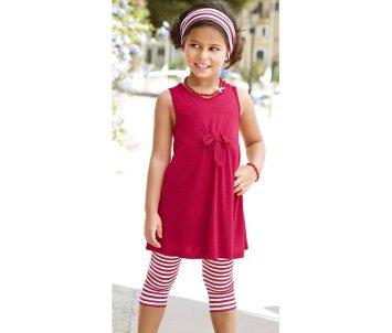 20 Hainute de vara in tendinte pentru copii: Set pentru fetite, compus din rochita, colanti si bentita