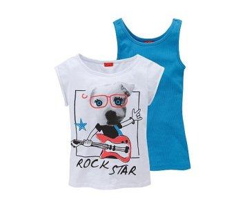 20 Hainute de vara in tendinte pentru copii: Set 2 piese pentru fetite, compus din top si tricou cu imprimeu