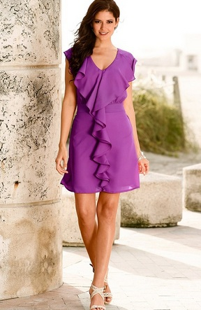 Rochie Orchid cu decolteu in V - Radiant Orchid