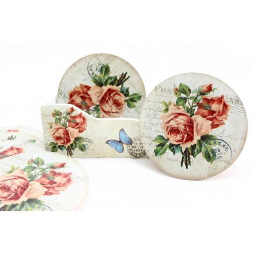 Stilul shabby chic: 18 accesorii decorative incantatoare: Set 6 suporturi pahare Shabby