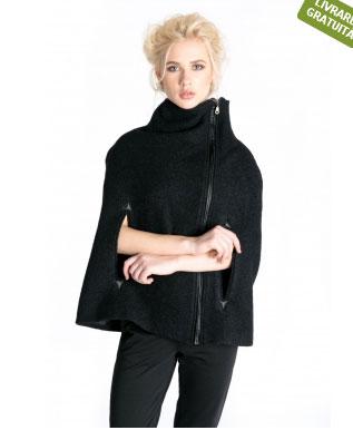 15 CAPE feminine: pentru un look deosebit: Capa neagra, din lana, Bluzat
