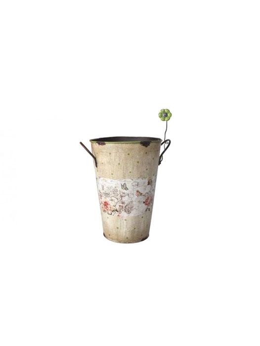 Util pentru plantele tale: 14 modele de ghivece:  Ghiveci inalt crem din metal Floare