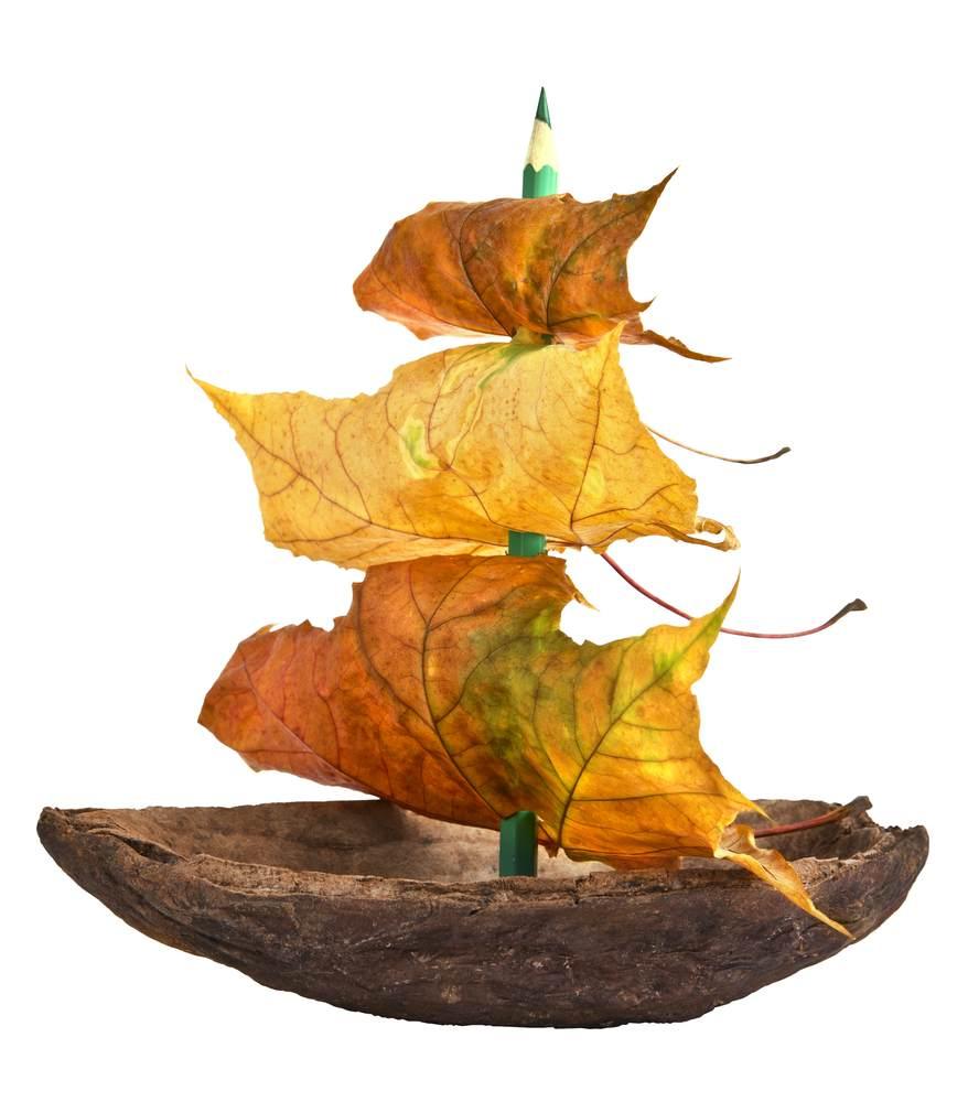 ATELIERUL DE CREATIE: 22 de idei pentru a realiza impreuna cu micutul tau adevarate Minunatii de Toamna: Corabia cu panze din frunze