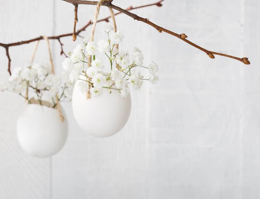 Idei super creative pentru masa de Paști: 17 Decorațiuni din Ouă și Coji de ouă: Cosulete cu flori agatate de crengi decorative