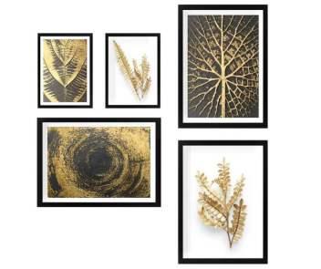 Decoratiuni minunate care iti vor face viata mai frumoasa (si casa!) Si sunt la reduceri de Black Friday!: Set de 5 tablouri Nature Gold