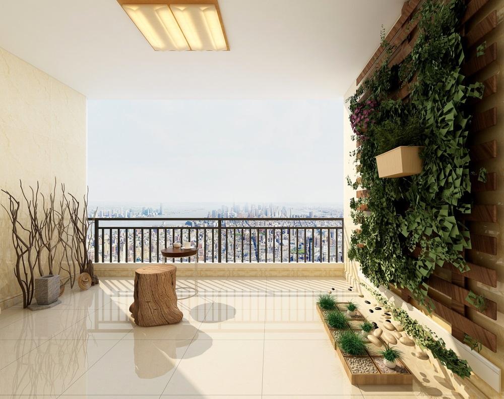 Balconul, oaza zilnica de relaxare. 16 Idei ca sa aduci natura pe balconul tau: Peretele viu, cu verdeata, din balconul minimalist, inspirat de natura