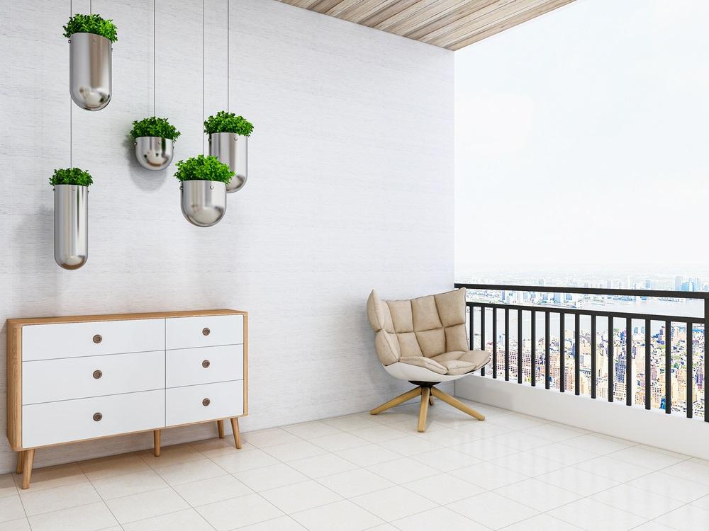 Balconul, oaza zilnica de relaxare. 16 Idei ca sa aduci natura pe balconul tau: Corpuri suspendate din tavan in care puteti amplasa linistiti cat de multa verdeata va doriti