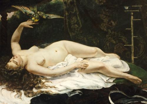 Cele mai sexy 7 tablouri ale lumii: Nuditatea ca expresie artistica: Femeie cu papagal - Gustave Courbet
