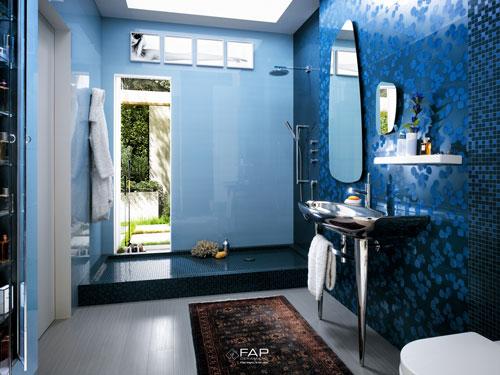 20 de modele de gresie si faianta: Placi ceramice albastre