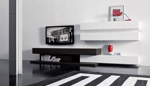Living alb negru mobilier modern for Meuble de living moderne